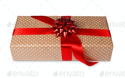Christmas holiday wrapped gift box isolated on white