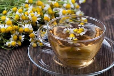 Cup of medicinal chamomile tea