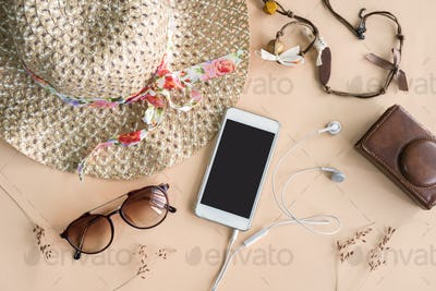 Fashion woman accessories isolated on color ackground
