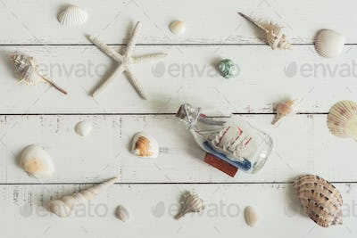 sail boat toy model and shell