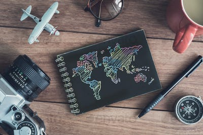 Traveler's accessories and items with black notebook and copy space