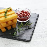 fried polenta with dipping sauce