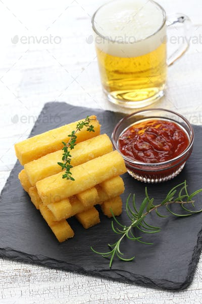 fried polenta and beer