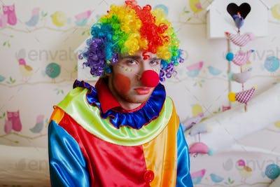 Upset lonely clown.