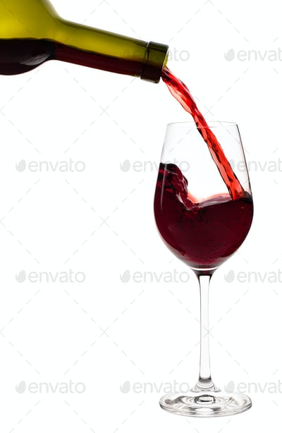 Is filled with a glass of red wine