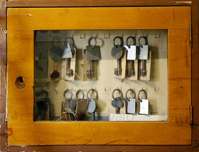 Old worn glass case with old keys