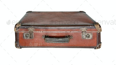 Old worn traveling suitcase
