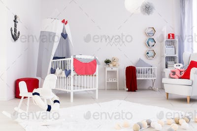 Bright room with crib