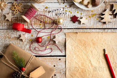Christmas composition, studio shot, wooden background.Copy space