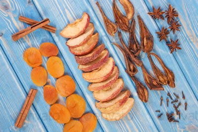 Ingredients and spices for preparing compote of dried fruits, healthy nutrition