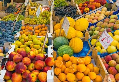 Great choice of fruits seen at a market