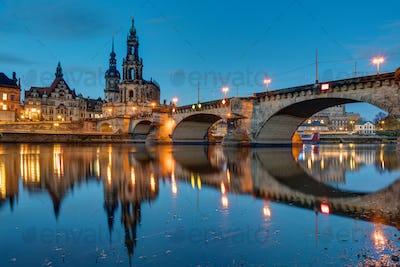 Hofkirche and bridge in Dresden at dawn