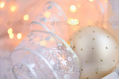 Christmas baubles and Christmas lights. Festive Christmas backgr