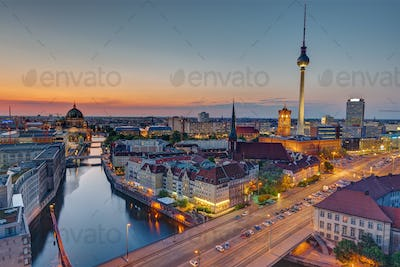 The heart of Berlin after sunset