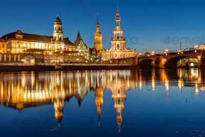 Hofkirche and palace in Dresden at night