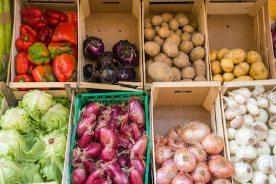 Vegetables in boxes for sale