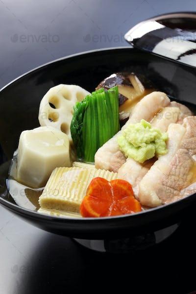Jibuni, duck meat stew, japanese cuisine