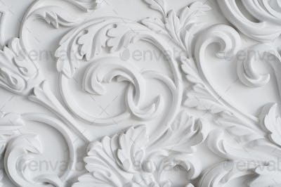 Luxury white wall design bas-relief with stucco mouldings roccoco element