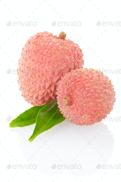 Lychees isolated on white, clipping path