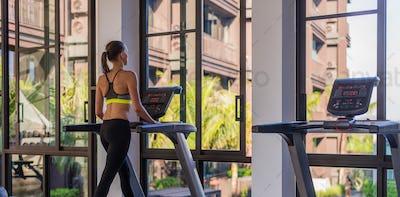 Horizontal shot of woman jogging on treadmill at health sport club at luxury resort. Female working