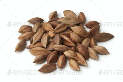 Heap of pili nuts on white background