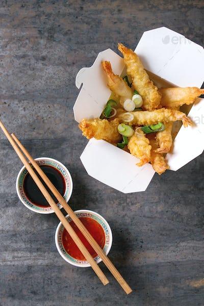 Fried tempura shrimps with sauces