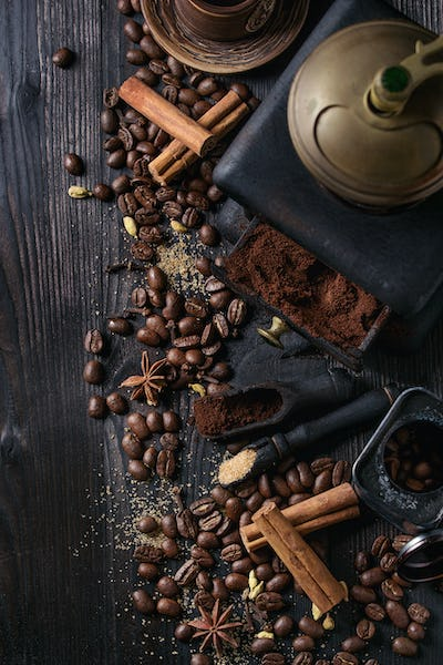 Black coffee beans with spices