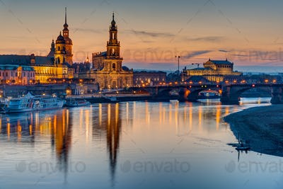 Sunset at the historic center of Dresden