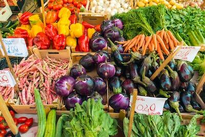 Fresh salad and vegetables for sale