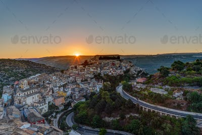 The sun rises over Ragusa Ibla in Sicily
