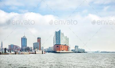 panoramic view of Hamburg city