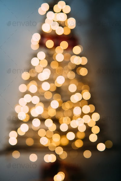 Christmas tree out of focus.