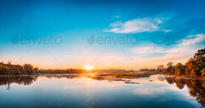 Autumn River Landscape In Belarus Or European Part Of Russia At