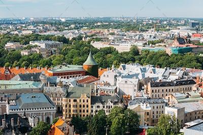 Riga, Latvia. Cityscape In Sunny Summer Day. Famous Landmark - P