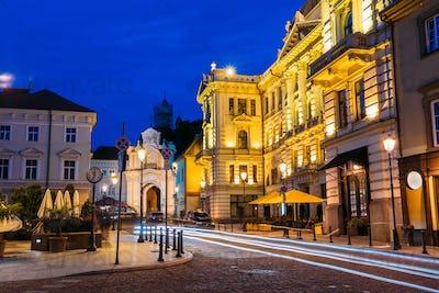 Vilnius Lithuania. Illuminated Lithuanian National Philharmonic