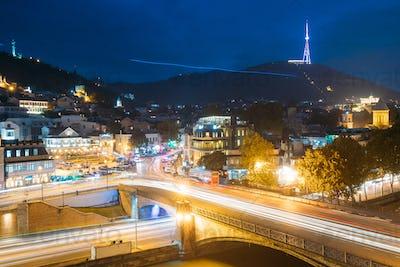 Tbilisi Georgia. Holy Mountain Mtatsminda Mount In Evening Night