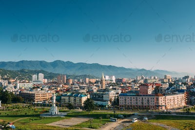 Cityscape Of Georgian Resort Town Of Batumi. Different Colored H