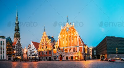 Panorama Of Town Hall Square With St. Peter's Church And House O