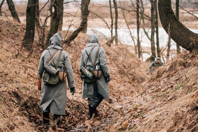 Unidentified Women Reenactors Dressed As German Wehrmacht Soldie