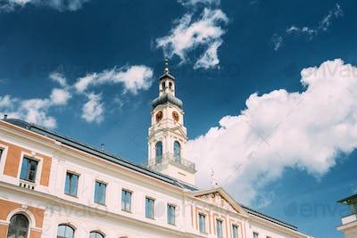Riga, Latvia. Clock Tower OF Famous Landmark - Old Riga City Hal