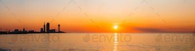 Batumi, Adjara, Georgia. Embankment At Sunset Sunrise. Bright Ev