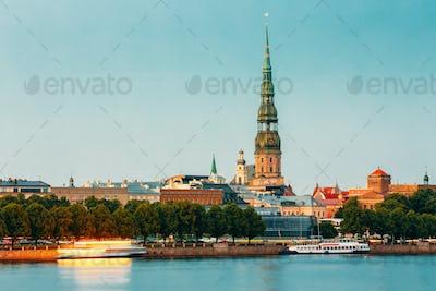 Riga Latvia. View Of Daugava River Embankment, Old Town, Tower O