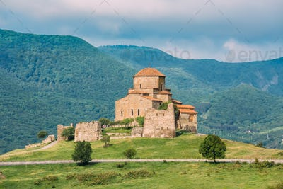 Mtskheta Georgia. Scenic View Of Jvari, Georgian Orthodox Monast