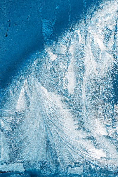 Blue Frosty Glass Ice Background, Natural Beautiful Frost Ice Pa
