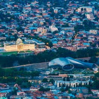 Tbilisi Georgia. Aerial View Of Music Hall, Rike Park, Avlabari
