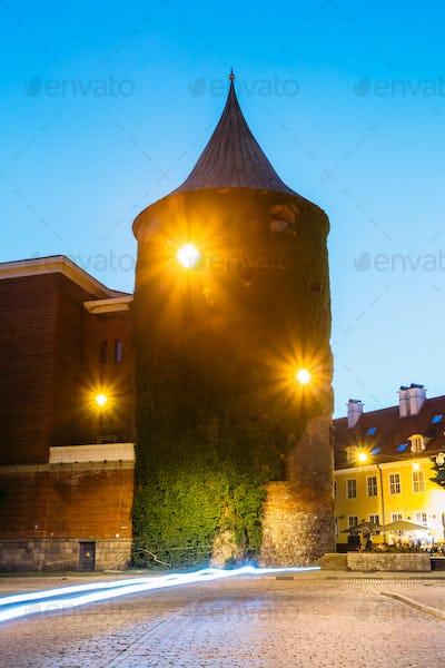 Riga Latvia. View Of Powder Tower, Extant Construction Of Ancien