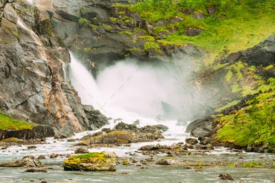 Waterfall in the Valley of waterfalls in Norway