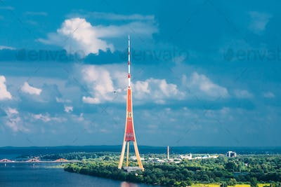 Riga, Latvia. Aerial Cityscape In Sunny Summer Evening. Top View