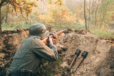 Re-enactor Dressed As German Wehrmacht Infantry Soldier In World