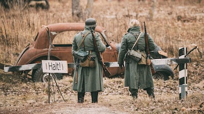 Unidentified Re-enactors Dressed As German Infantry Wehrmacht so